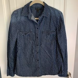 J. Crew black label denim stars button down sz 12